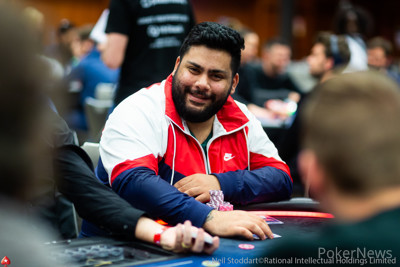 Daniel Rezaei among the big stacks after Day 1