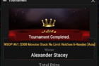 "Alexander ""MightyWarior"" Stacey Claims 1st Bracelet in Event #61: $300 Monster Stack for $127,660"