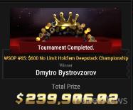 """Dmytro """"Too Bad"""" Bystrovzorov Wins Event #65"""