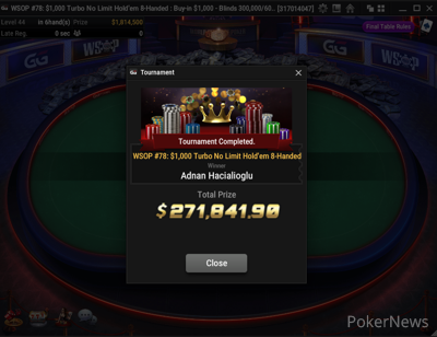 "Adnan ""Bolazar"" Hacialioglu wins Event #78: $1,000 Turbo 8-Handed"