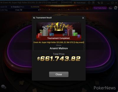Arsenii Malinov Wins Super MILLION$ Week Event #6