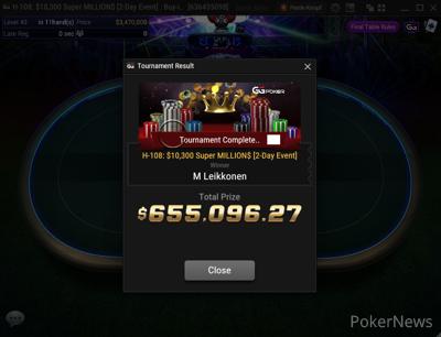 Markus Leikkonen Wins GGSF Event H-108: $10,300 Super MILLION$