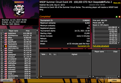 WSOP Online Summer Circuit Event 8