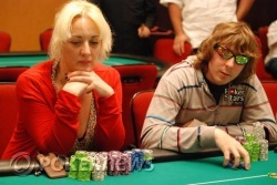 Day 1b chip leader Tasha Ellis and Season 1 champion Brett Parise
