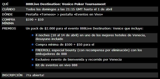 ¡Gana un paquete de .000 para el evento 888Live Destination: Venice! 101