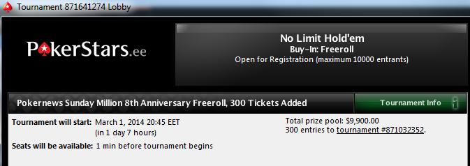 300 Sunday Million kvalifikatsiooni piletit PokerNewsi lugejatele 101
