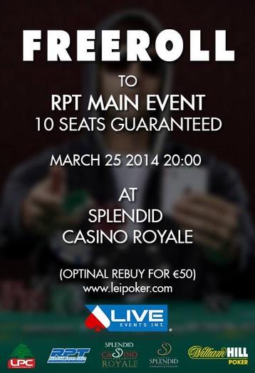 Veliki Freeroll Turnir sa Garantovanih 10 Mesta za RPT u Splendidu 25. Marta 101