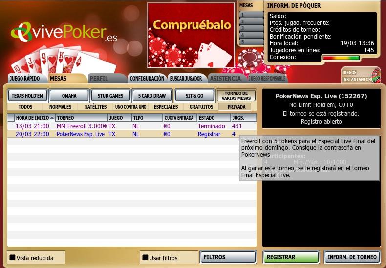 Hoy a las 22:00 juega el freeroll de bienvenida en VivePoker 101
