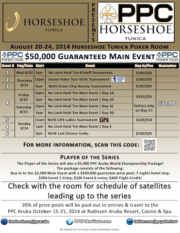 PPC Poker Tour Adds First Stop in Mississippi; Visits Horseshoe Tunica August 20-24 101