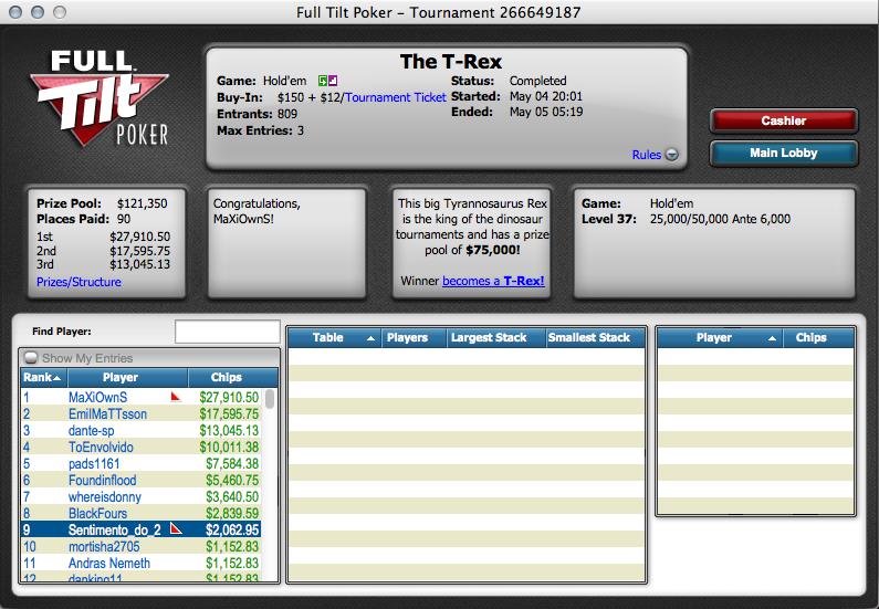 Noite de Sonho na Full Tilt Poker: 0,000 a Caminho de Portugal 103