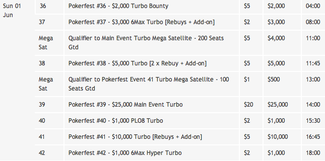 PokerFest Schedule June 1