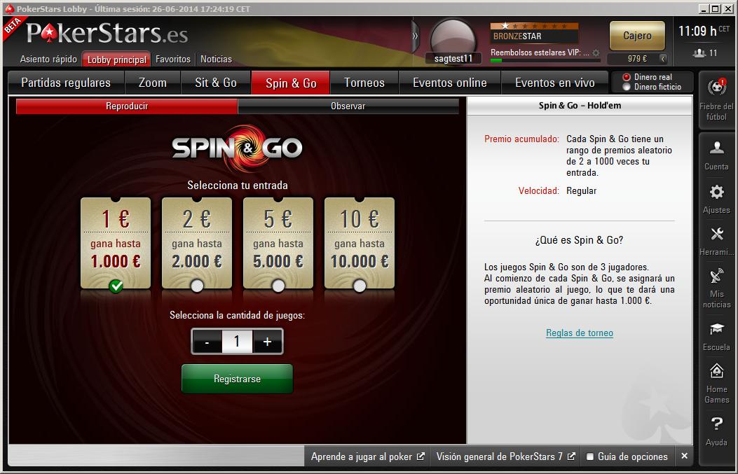 Pantalla de registro de Spin & Go