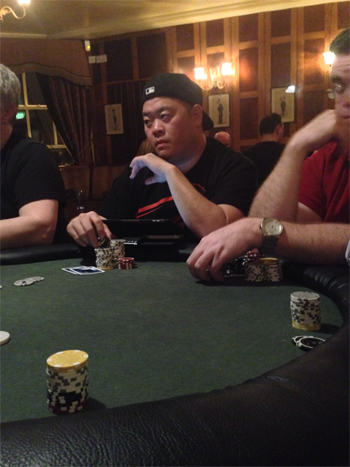 Kelly Kim in action in a pub poker game in Dublin!