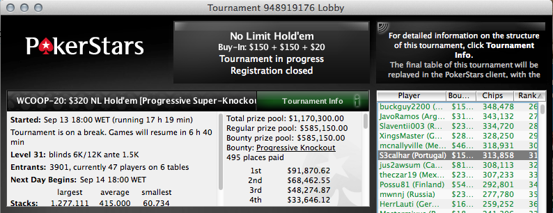 S3calhar no Dia 2 do Evento #20 WCOOP; RuiNF 3º no The Big 9 (,223) & Mais 101