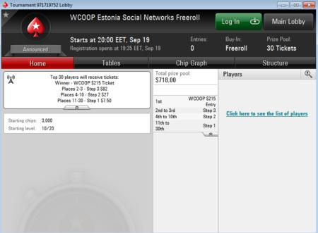 Reedel toimub PokerStarsis ainult eestlastele mõeldud WCOOP freeroll 101