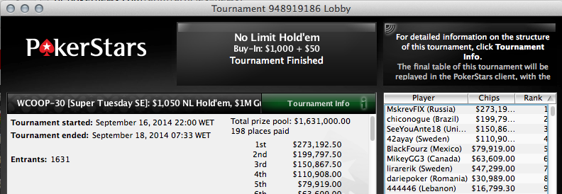 Continuamos a Procurar o Big Hit no WCOOP - flotheguts no Dia 2 do Evento #32 101