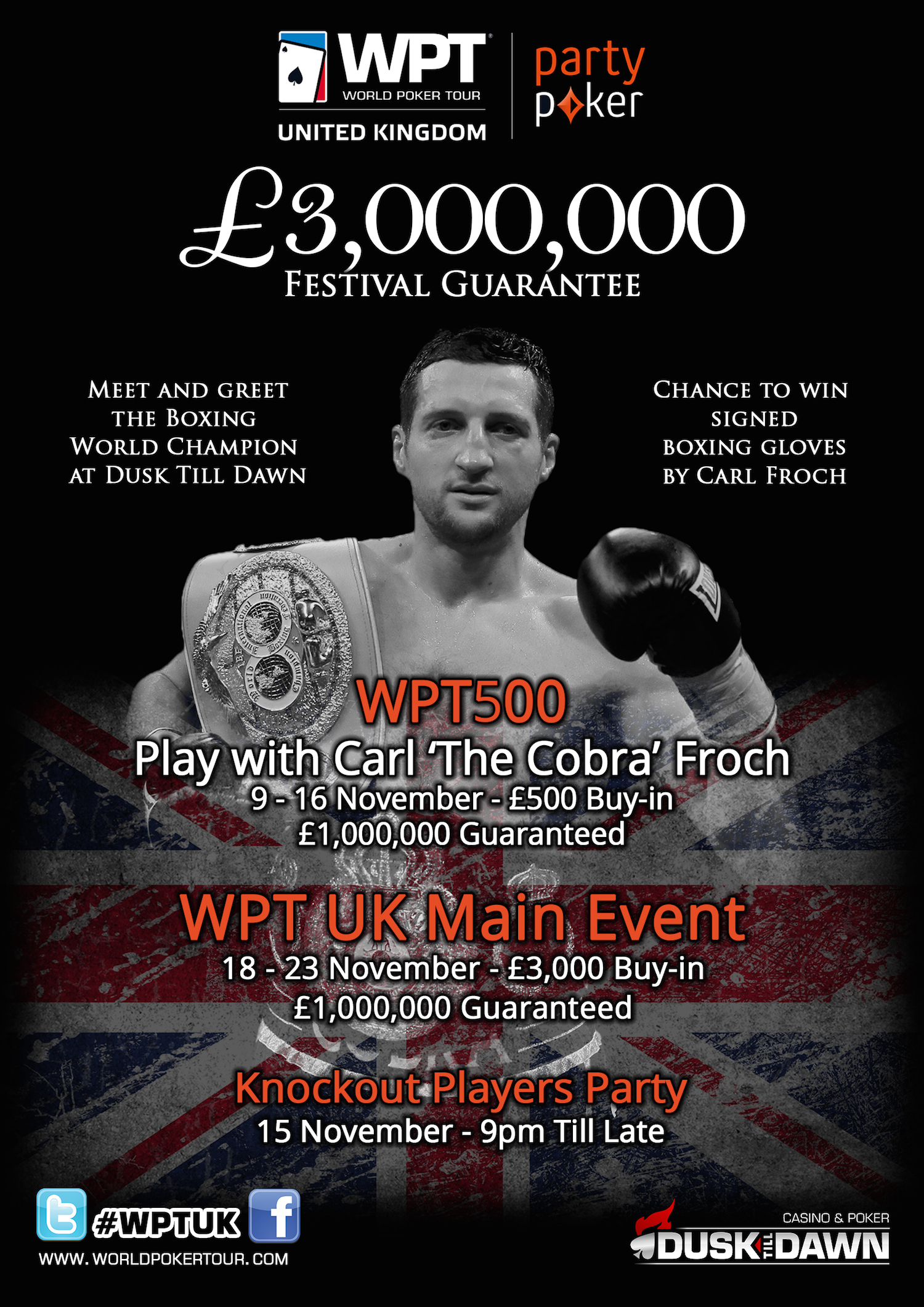 """Boxing Legend Carl """"The Cobra"""" Froch to Play Partypoker WPT500 at Dusk Till Dawn 101"""