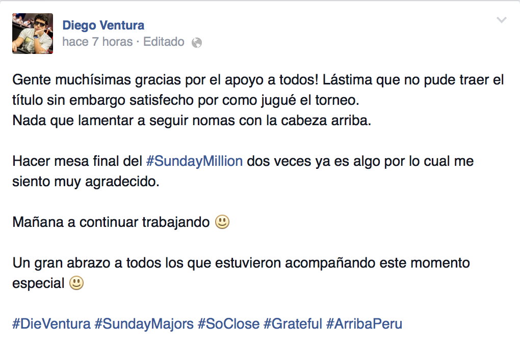 ¡Tres latinos en la mesa final del Sunday Million! 101