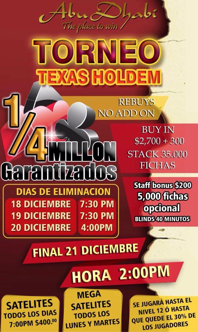 El cuarto de millón del Abu Dhabi esta por iniciar en Monterrey 101
