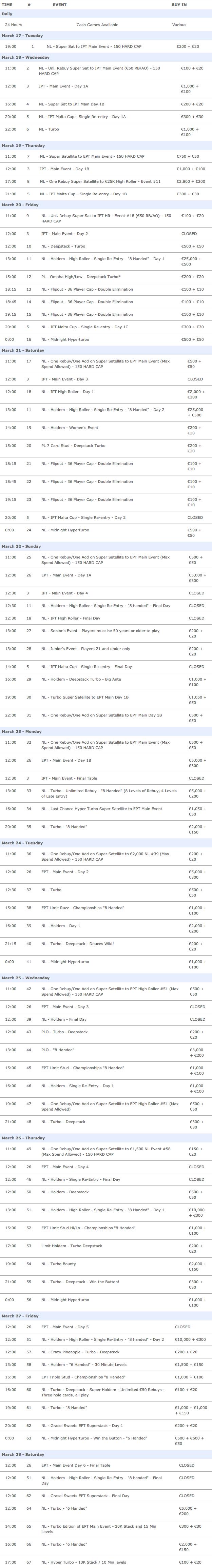 ept malta 2015 official schedule