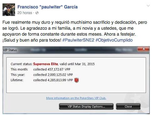 """La gran hazaña de Francisco """"paulwiter"""" García: dos veces SNE en 2014 101"""