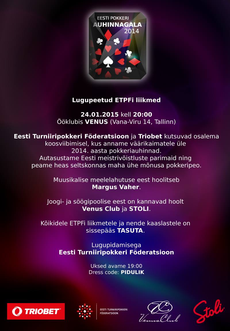 ETPF-i auhinnagala toimub 24. jaanuaril ööklubis Venus 101