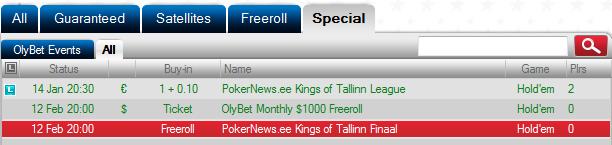 OlyBet Kings of PokerNews tasuta finaali kvalifitseerunud vaid 23 mängijat 101