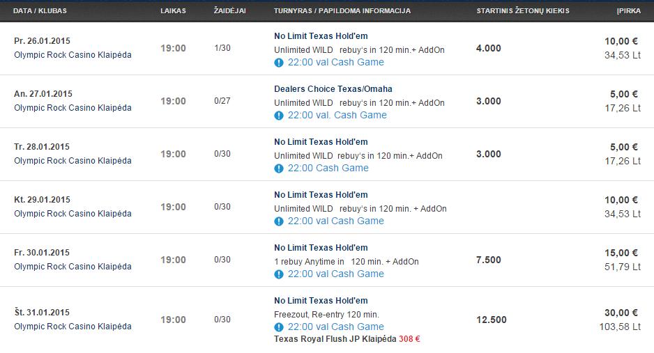 Savaitės turnyrų tvarkaraštis Olympic Casino pokerio klubuose 105