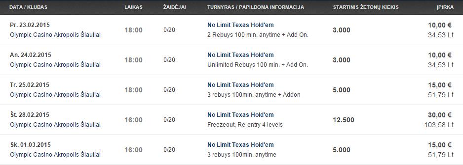 Savaitės turnyrų tvarkaraštis Olympic Casino pokerio klubuose (02.23 - 03.01) 105