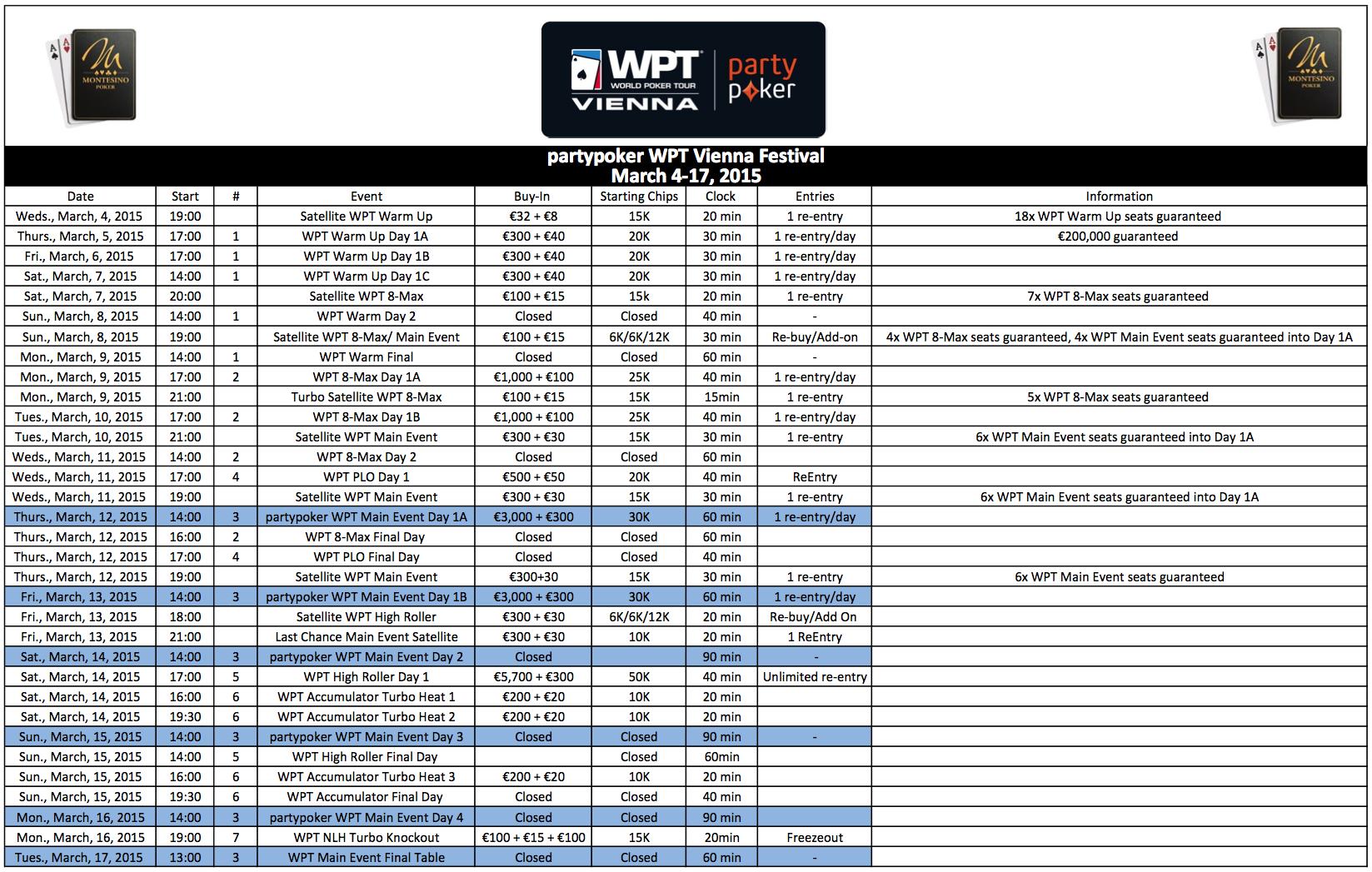 WPT Montesino Menetrend
