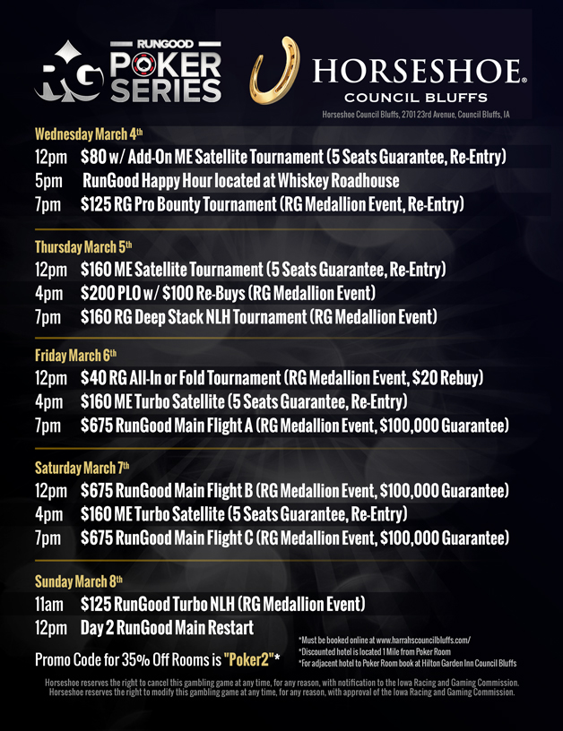 RunGood Poker Series Visits Horseshoe Council Bluffs March 4-8 with 0K Main Event 101