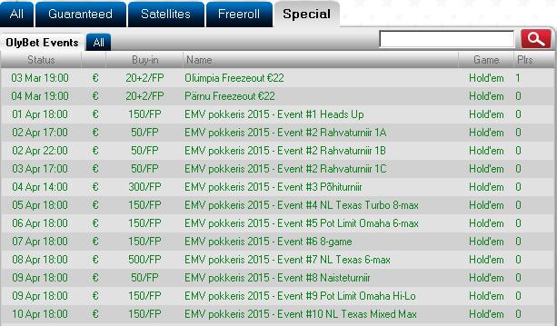 EMV 2015 satelliidid OlyBet pokkeritoas 101