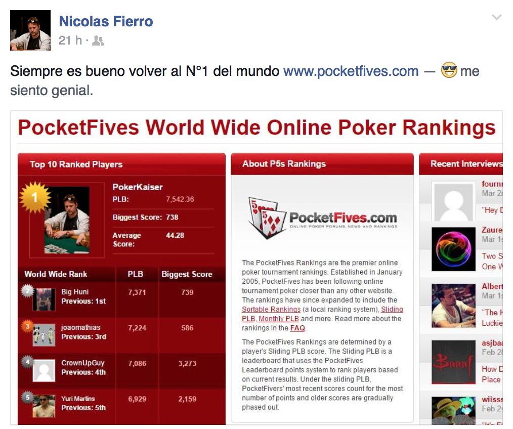 """""""PokerKaiser"""" vuelve al número #1 en el ranking de PocketFives 101"""