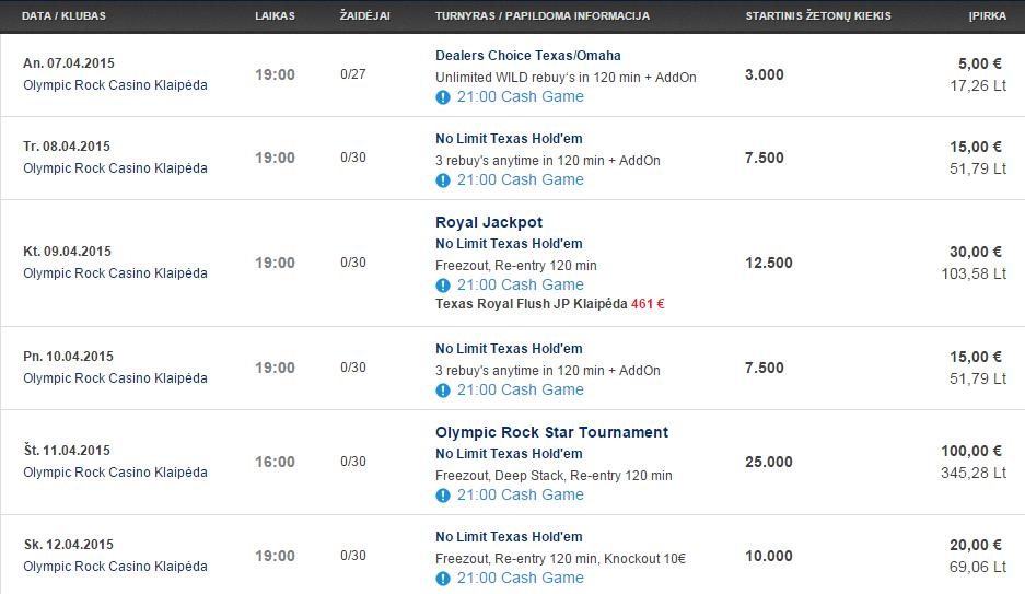 Savaitės turnyrų tvarkaraštis Olympic Casino pokerio klubuose (04.07 - 04.12) 104