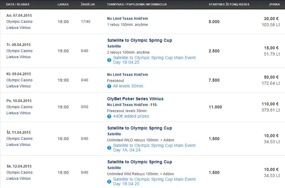 Savaitės turnyrų tvarkaraštis Olympic Casino pokerio klubuose (04.07 - 04.12) 101