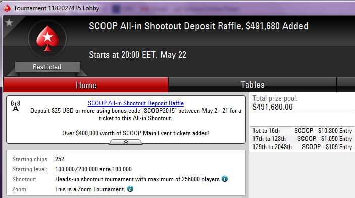 Spring Championship of Online Poker (SCOOP) toimub 10.-24. mail 101