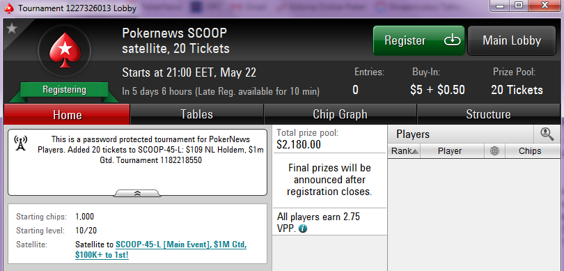 Spring Championship of Online Poker (SCOOP) eripakkumised 102