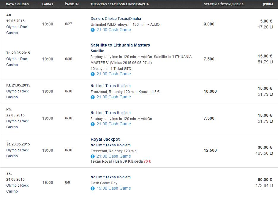 Savaitės turnyrų tvarkaraštis Olympic Casino pokerio klubuose (05.19 - 05.24) 104