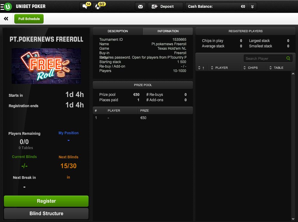 Hoje às 21:00 8º Freeroll FPP Podcast na Unibet Poker 101