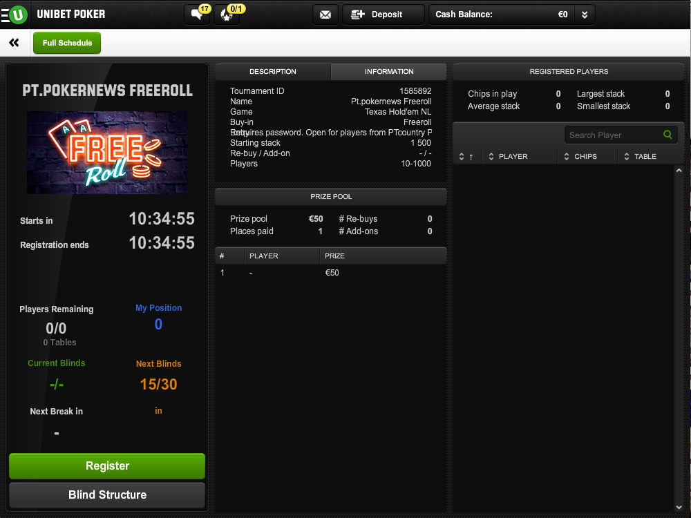 Hoje às 21:00 10º Freeroll FPP Podcast na Unibet Poker 101