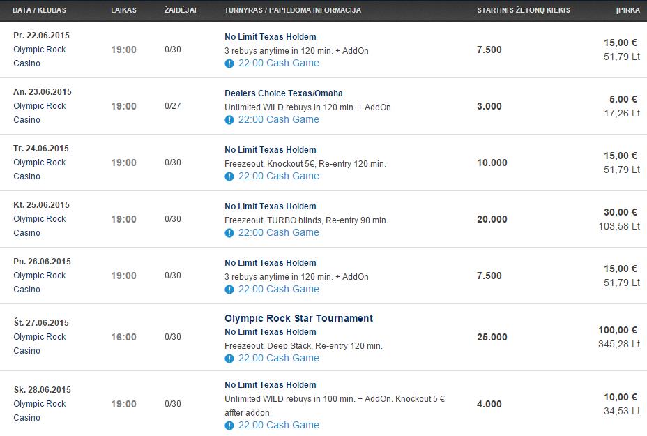 Savaitės turnyrų tvarkaraštis Olympic Casino pokerio klubuose (06.22 - 06.28) 104
