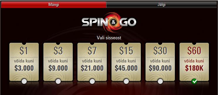Tartlane Valev Vahter keerutas PokerStars Spin & Go turniiril välja maksimumi 101