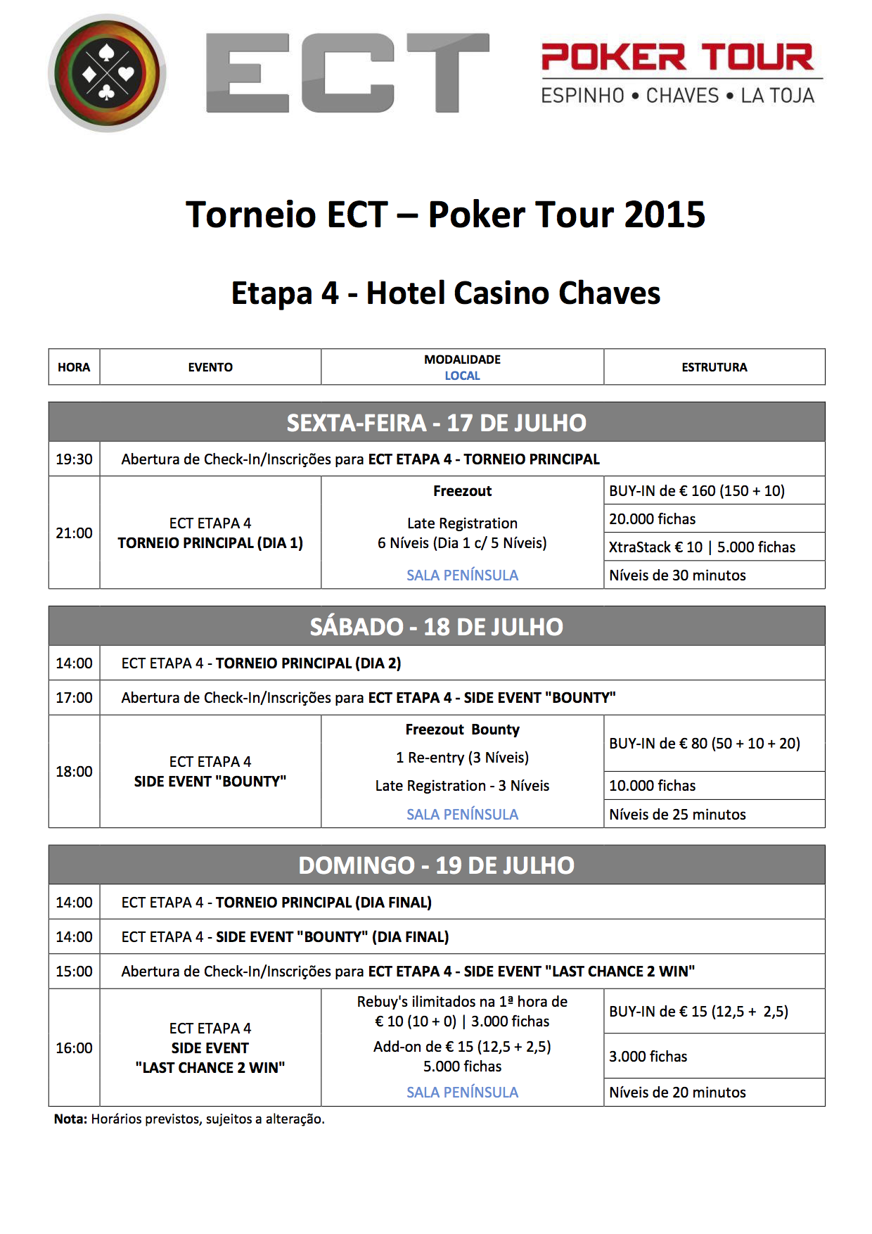 Programa Etapa 4 ECT Poker Tour 16 a 19 Julho em Chaves 102