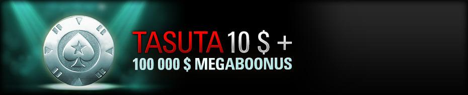 Pokerstarsis kuni 23. augustini deponeerijatele megaboonus 102