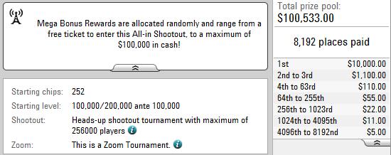 Pokerstarsis kuni 23. augustini deponeerijatele megaboonus 101