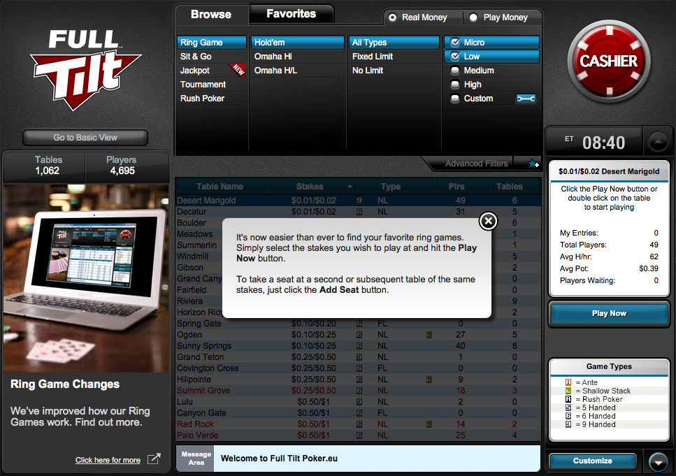Table Selection No Longer Possible in Full Tilt Ring Games 101