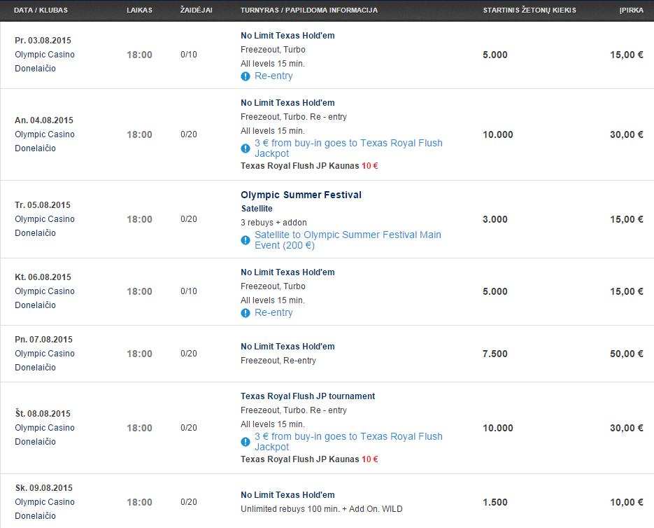 """Savaitės turnyrų tvarkaraštis """"Olympic Casino"""" pokerio klubuose (08.03 - 08.09) 103"""