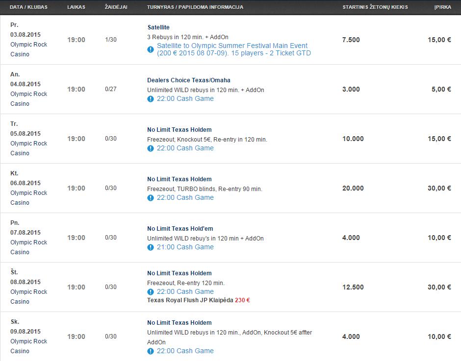 """Savaitės turnyrų tvarkaraštis """"Olympic Casino"""" pokerio klubuose (08.03 - 08.09) 104"""