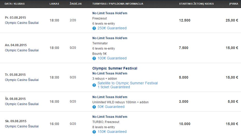 """Savaitės turnyrų tvarkaraštis """"Olympic Casino"""" pokerio klubuose (08.03 - 08.09) 105"""