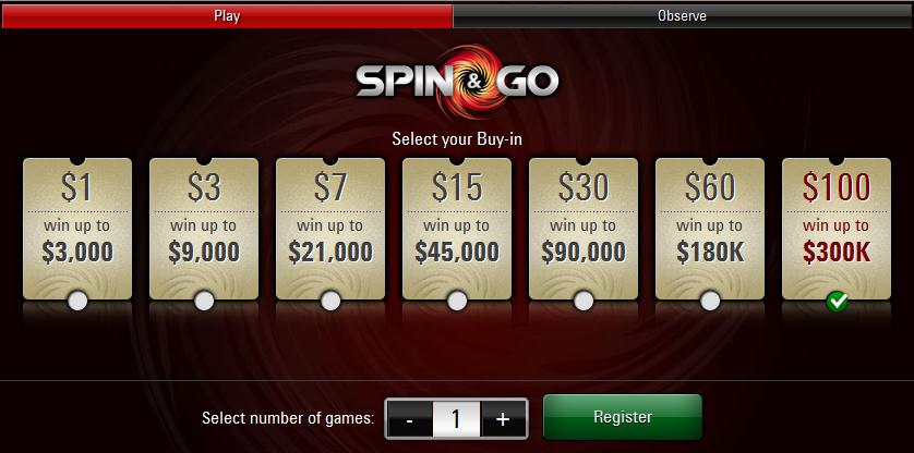 PokerStars lisas Spin & Go valikusse 0 sisseostuga turniirid 101